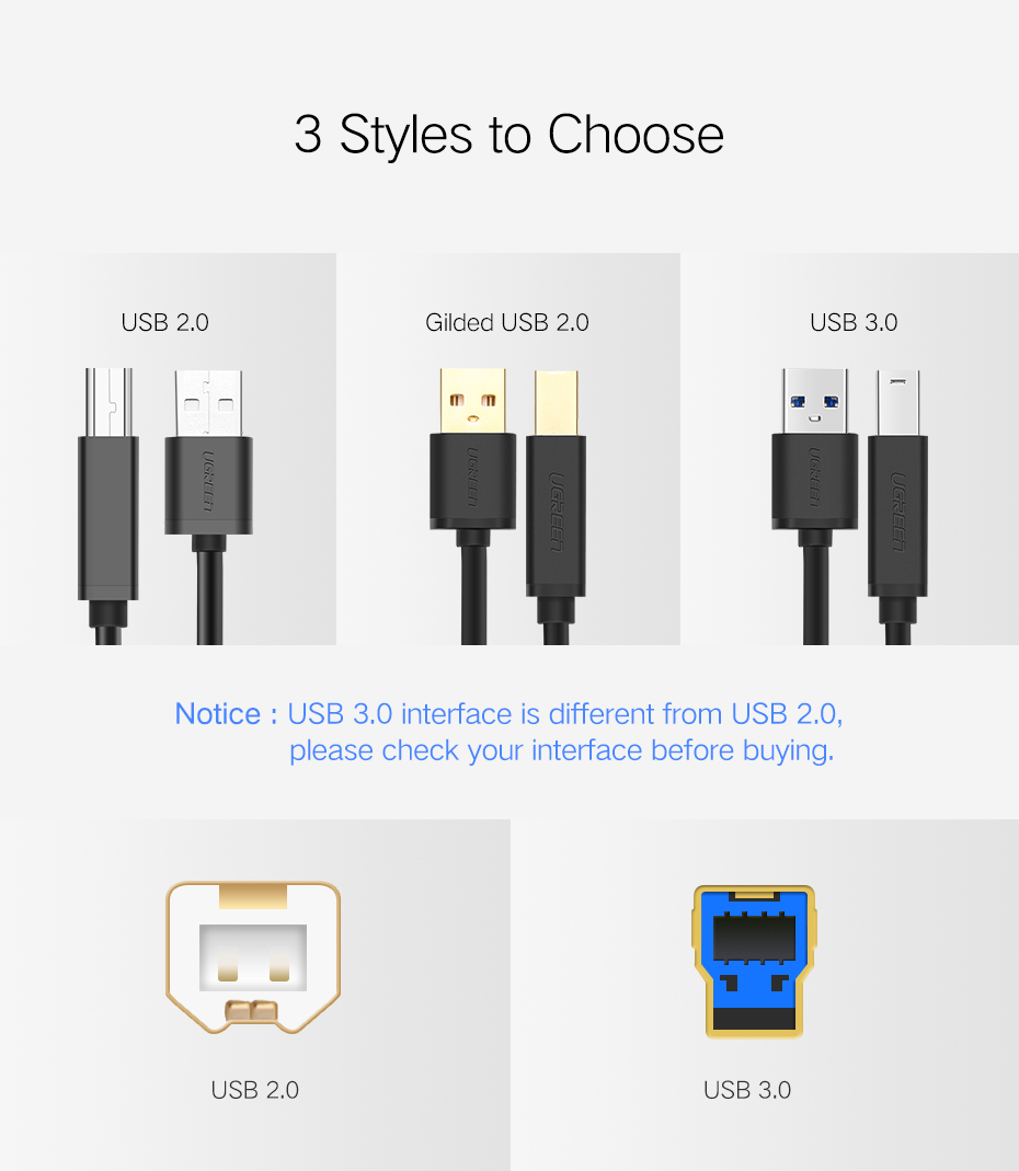 USB Printer Cable USB Type B Male to A Male USB 3.0 2.0 Cable 15