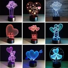 3D LED illustration Lamp Romantic Love LED Night Lights Novelty Illusion Night Lamp 3D Table Lamp For Home Decorative Light 3d лампа 3d lamp утенок