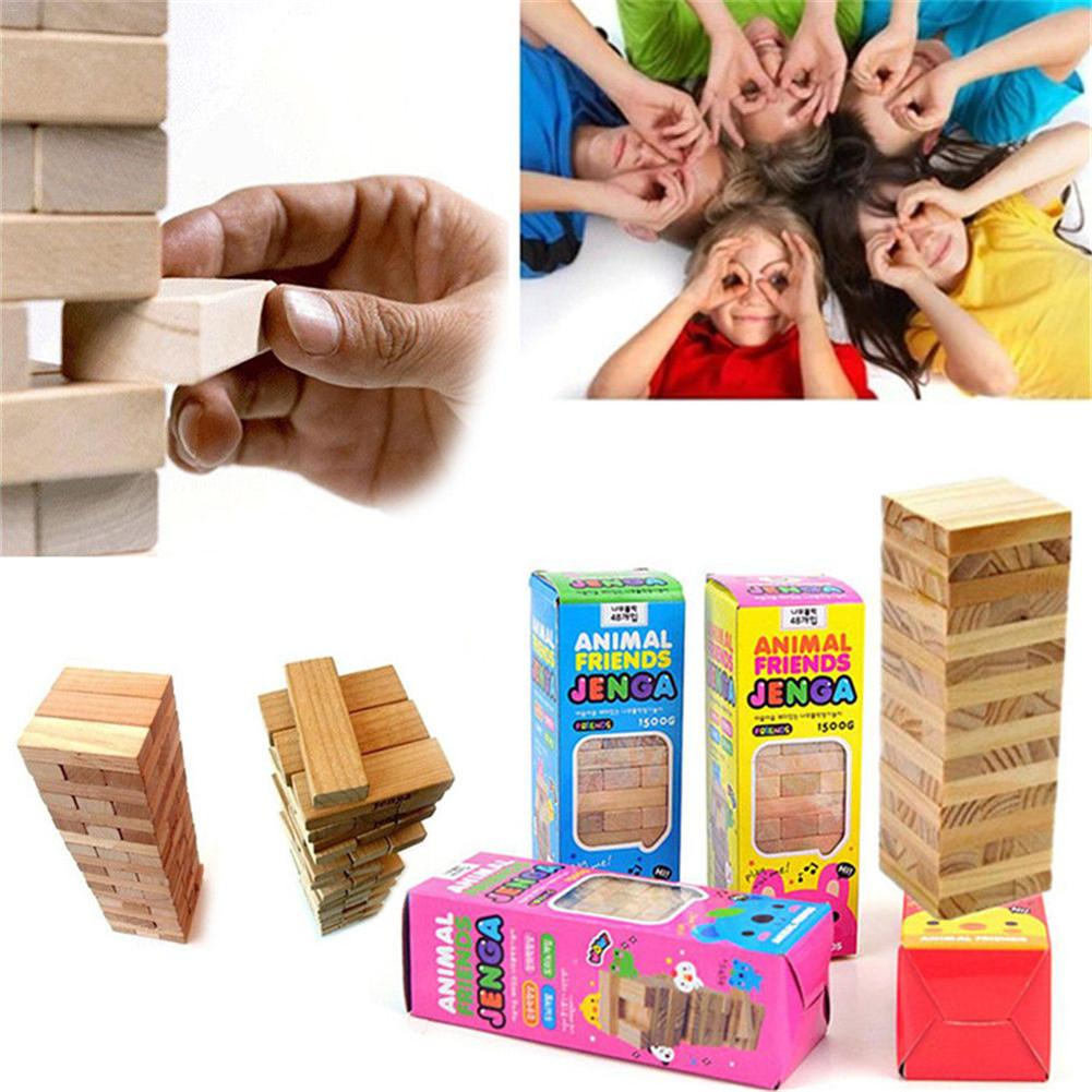 48PCS Wooden Jenga Building Block Brain Game Toy Classic Balance Gift Kids Game Board Toys Kit Children Intelligence Toys