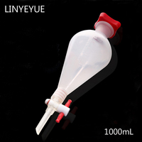 1000mL Pear shaped Plastic Separatory funnel with PTFE Stopper PP Separating Funnel Laboratory Supplies