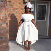 White Short Bridesmaid Dresses Off The Shoulder Tea Length High Low Simple Wedding Party Dress For Women 2020 Vestido Madrinha