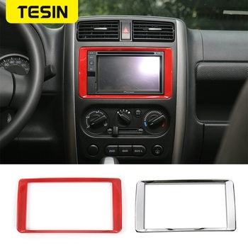 TESIN ABS Car GPS DVD Dashboard Panel Navigation Decoration Frame Cover Stickers for Suzuki Jimny 200011-2017 Car Accessories image