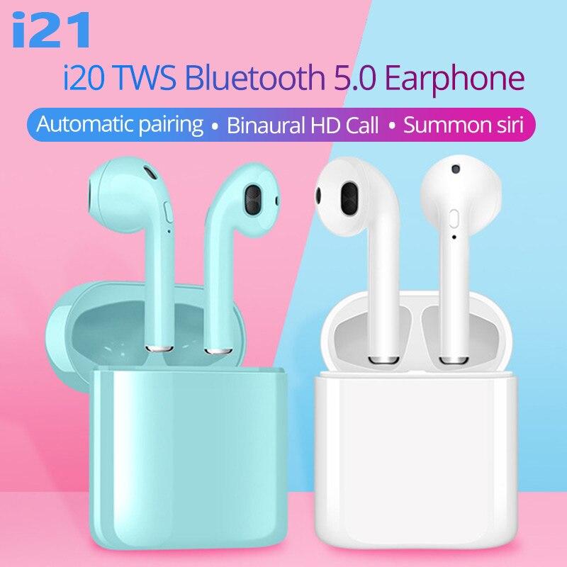 I21 TWS wireless Bluetooth 5.0 earphones mini stereo earphones pk i7s i7mini i9s i11 i12 i16 I20 i9000 i10000 tws for all phone