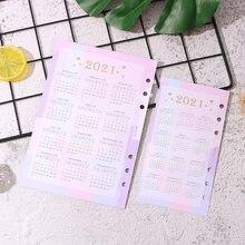 Розовая бумага для карт с 6 отверстиями календарь 2021 дневника