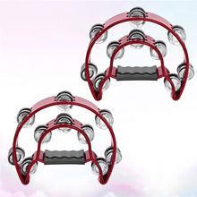 2pcs Double Row Tambourine Half Moon Metal Musical Jingles Tambourine Hand Held Rattle for Bar Party (Red)