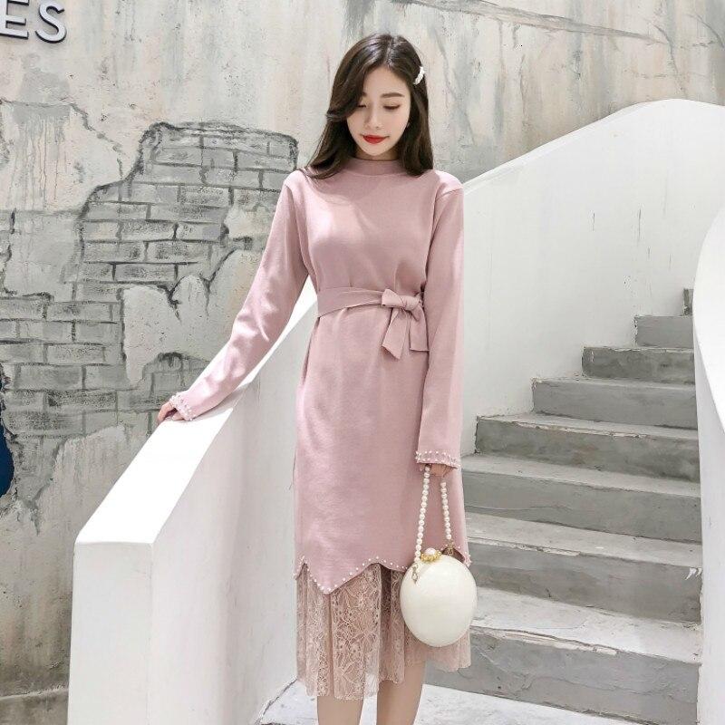 Осенне зимние женские комплекты из двух предметов платье свитер с бусинами и поясом кружевные юбки элегантные вечерние костюмы в Корейском стиле для офиса из 2 предметов