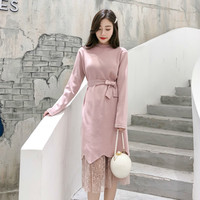 Autumn Winter Women Two Piece Sets Beading Sashes Sweater Dress Lace Skirts Elegant Korean Office Party Fashion 2 Piece Outfits