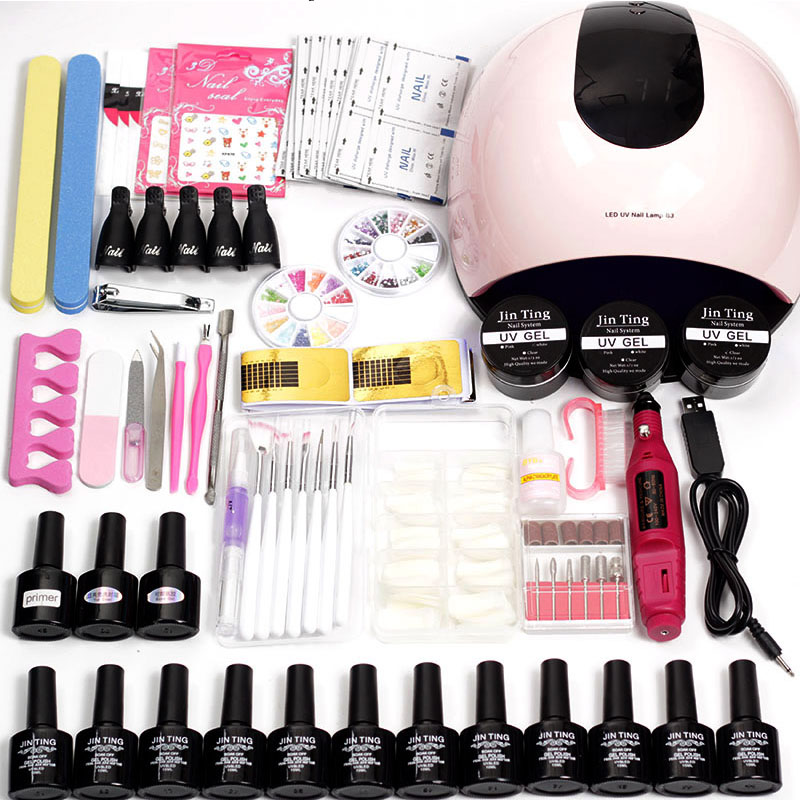X5 Led Uv Nail Lamp Choose 12 Color Gel Nail Polish Varnish Acrylic Nail Kit Electric Nail Drill Machine For Manicure Set