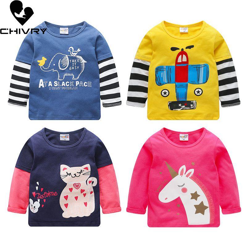 2020 primavera outono crianças meninos t camisa unicórnio impressão dos desenhos animados manga longa o pescoço do bebê meninas camisetas topos de algodão crianças camiseta