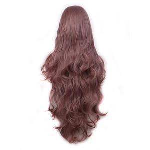 Image 5 - WoodFestival 100 cm 코스프레 가발 핑크 옐로우 퍼플 고온 섬유 내열성 긴 물결 모양의 합성 가발 여성을위한