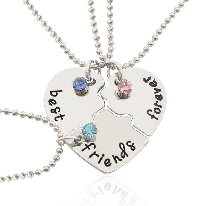 Модное Трендовое ожерелье с подвеской в виде разбитого сердца, цепочка с надписью «Best Friends Forever», чокер-пазл дружбы, подарок для женщин и деву...