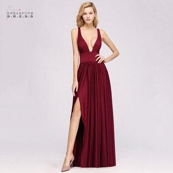 Burgundy Sexy Deep V-Neck Bridesmaid Dresses Long Splite Chiffon Pleated Backless Wedding Guest Dress robe demoiselle d'honneur
