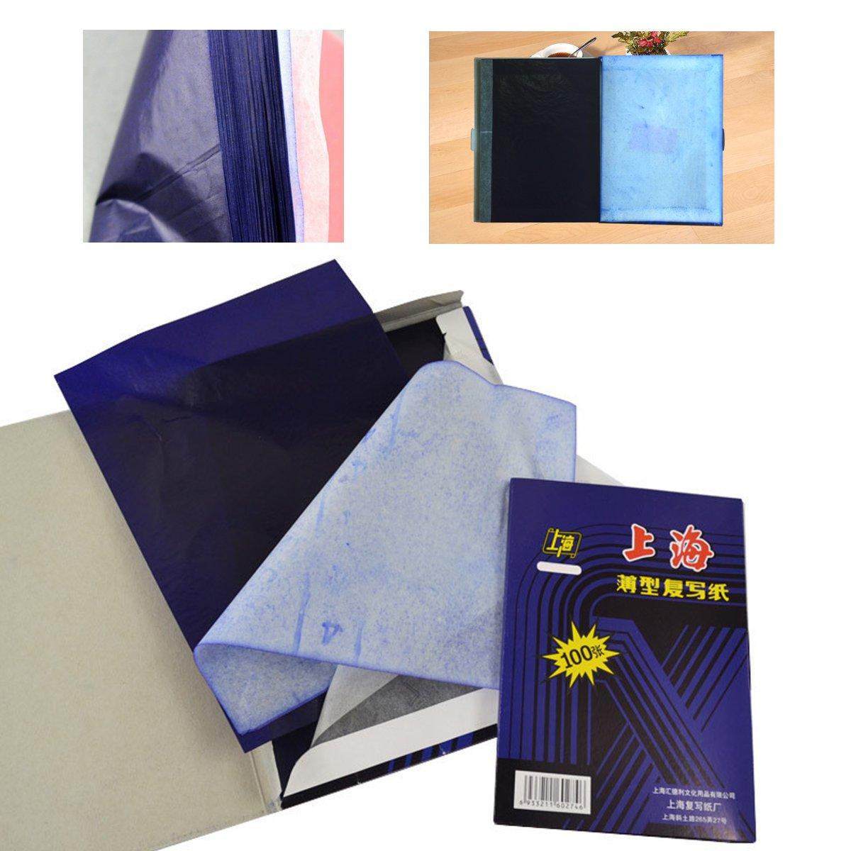 100 Sheets A4 Dark Blue Carbon Hand Copier Stencil Transfer Paper Hectograph Black Carbon Hand Copier Stencil Transfer Paper