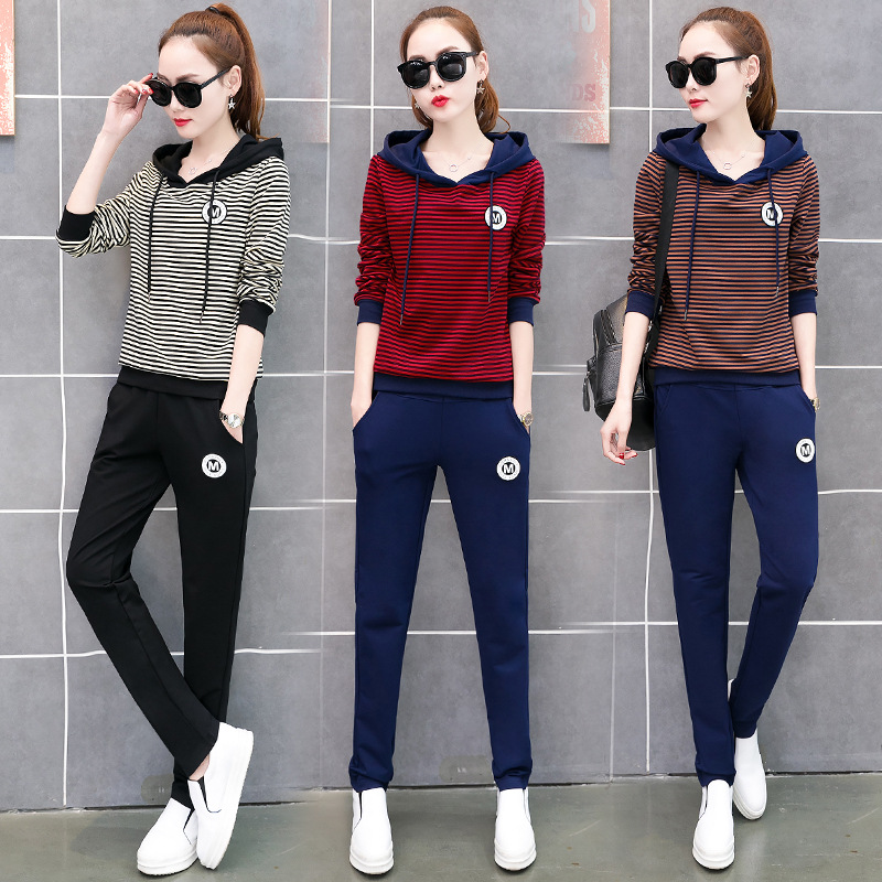 Sports WOMEN'S Suit Spring And Autumn 2018 New Style Korean-style Loose-Fit Slimming Casual Wear Hoodie With Cotton Two-Piece Se