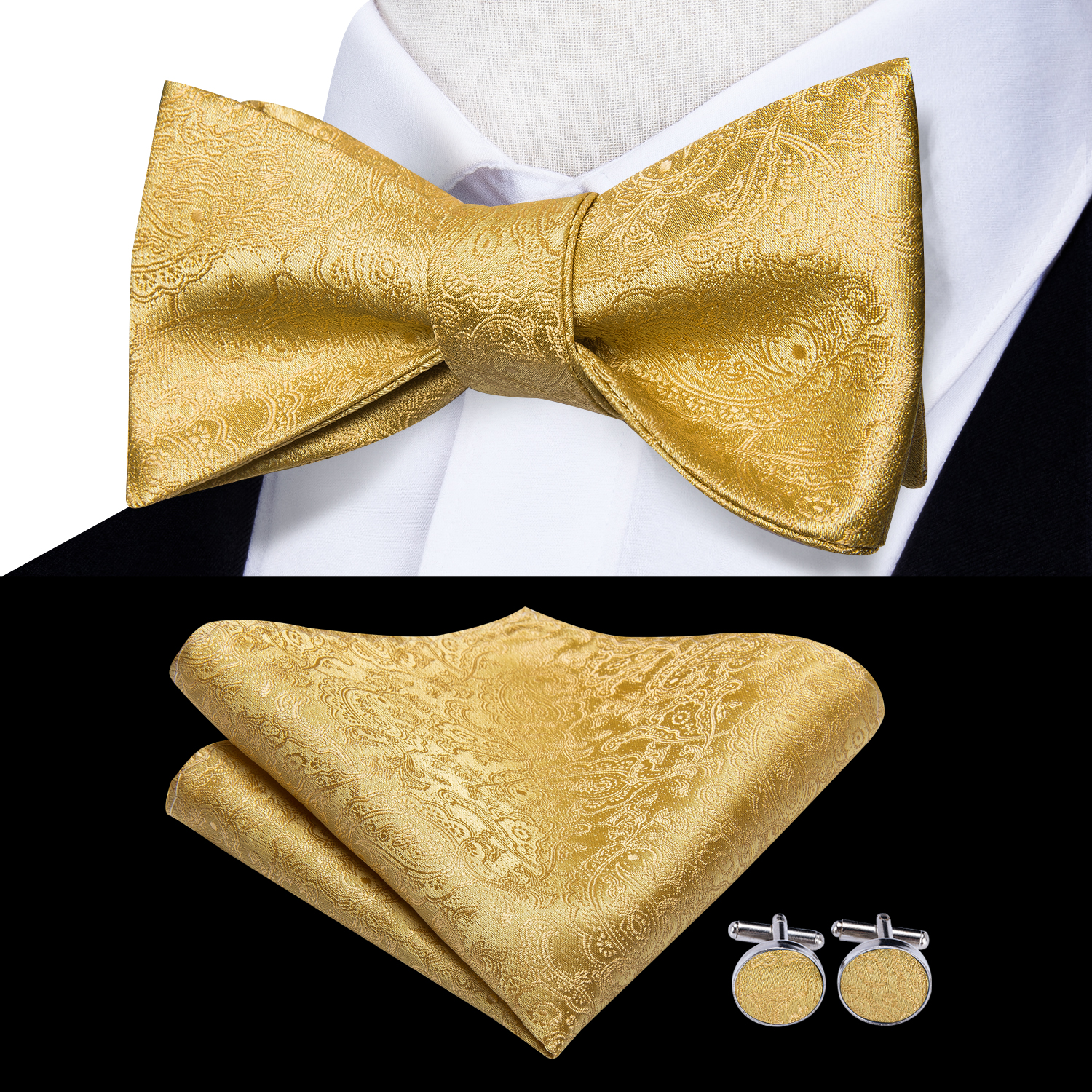 50 Styes Hi-Tie 100% Silk Bowtie For Men Bow Tie Pocket Square Cufflinks Set Butterfly Self Bow Ties Luxury Gold Borboleta Tie
