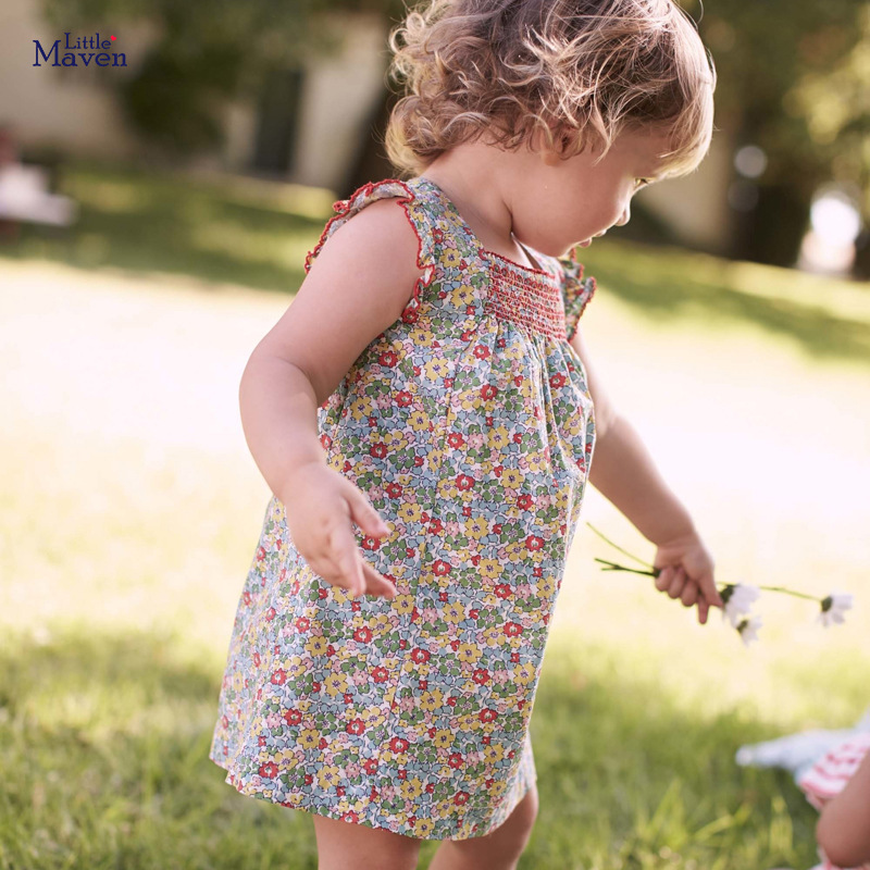 Little Maven Dress Baby Girls Summer Dress Floral Dresses For Girl Clothes Cotton Sleeveless Flower Toddler Princess Dress