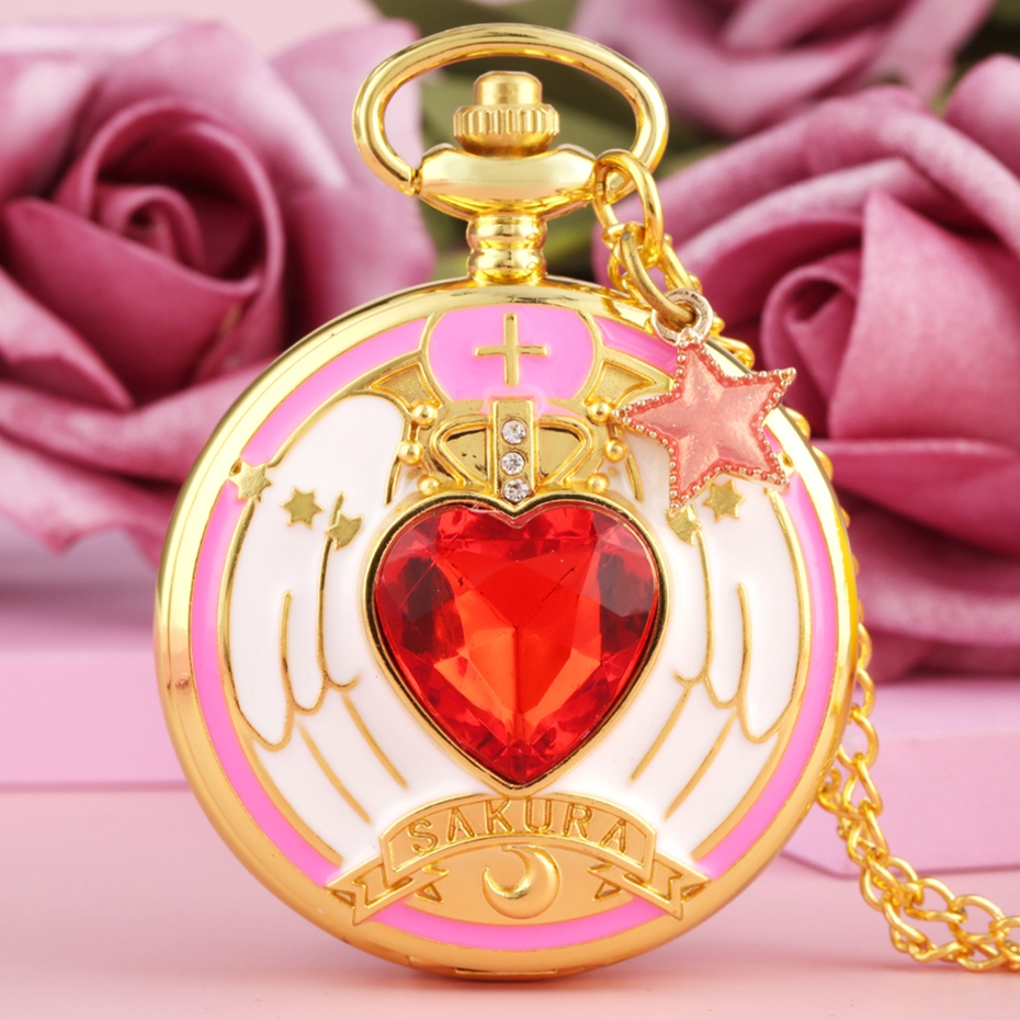 Superb Magic Rhinestone SAKURA Pocket Quartz Watch Luxury Gold Necklace COS FOB Chain Clock For Girls With Moon Star Accessory