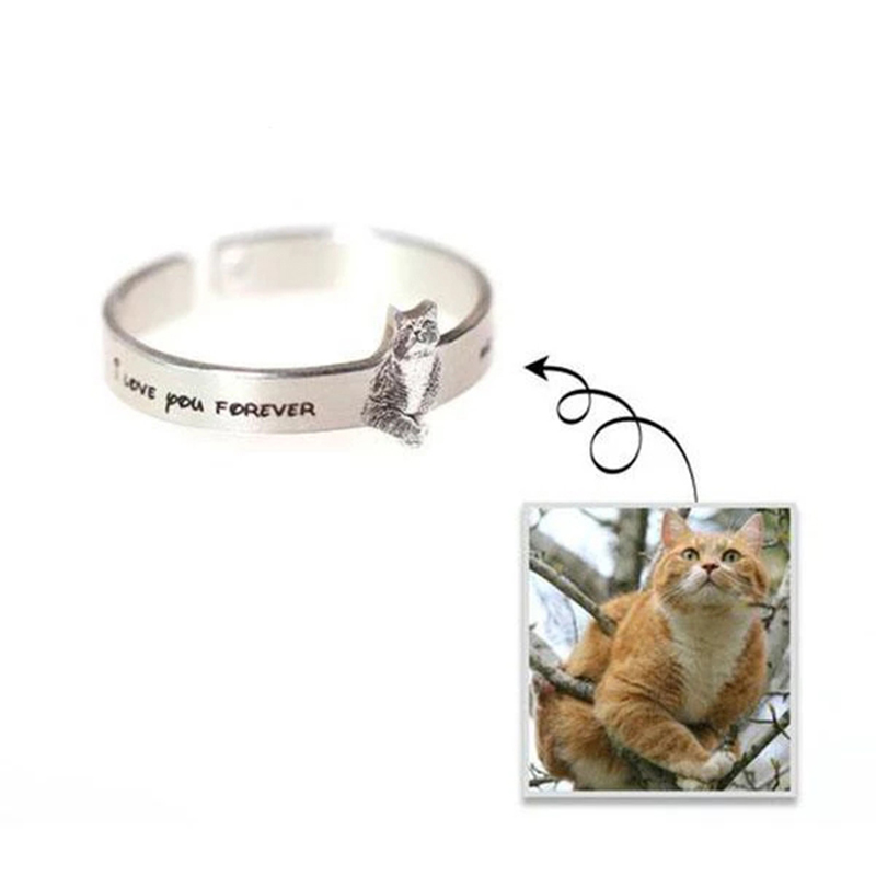 Personnalisé chat Pet argent anneaux femmes pour animaux de compagnie amoureux 990 en argent Sterling anneaux ouverts femmes hommes Anillo Mujer Bague Femme meilleurs cadeaux