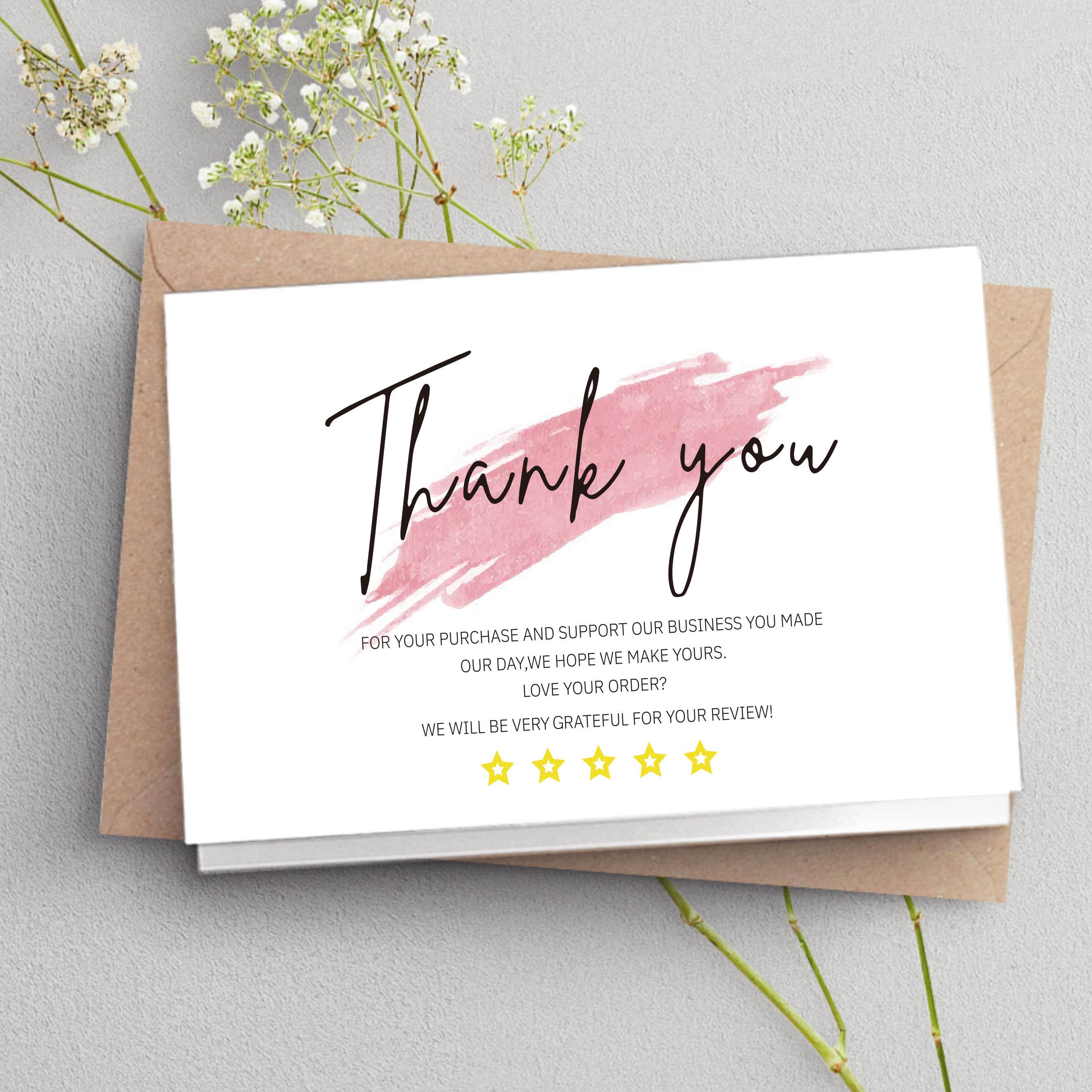 30 pces branco obrigado cartão obrigado para o seu pedido cartão de elogios etiquetas para pequenas empresas decoração para pequena loja pacote de presente
