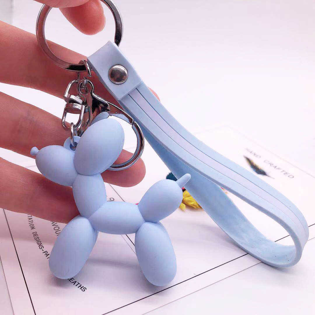 만화 풍선 개 키 체인 여성을위한 다채로운 부드러운 고무 PVC 사랑스러운 개 Keychains 열쇠 고리 자동차 열쇠 고리 가방 펜던트 쥬얼리