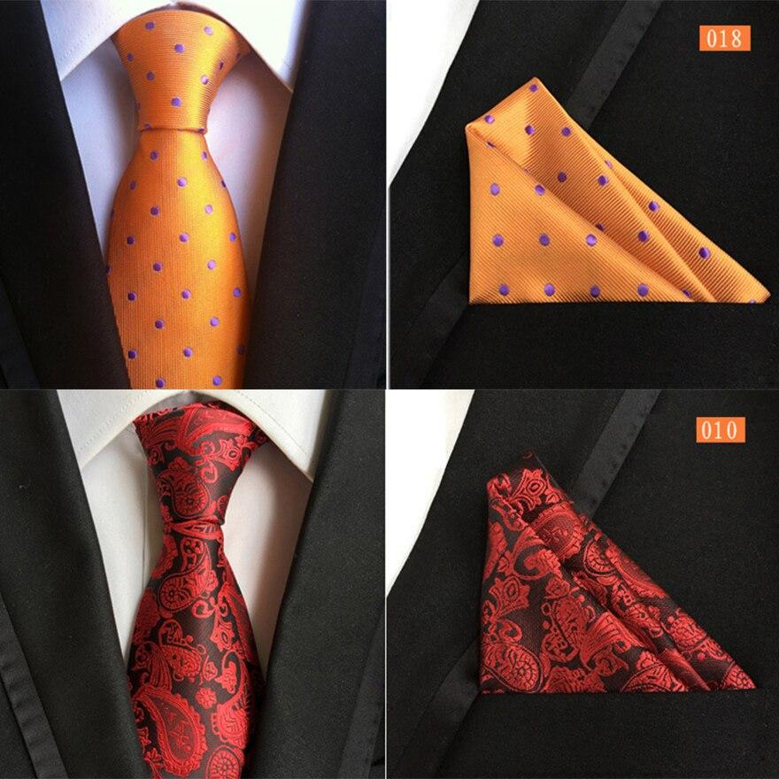 Ricnais New Fashion 8CM Handkerchief Tie Set Bule Red Paisley Striped Silk Necktie For Men Business Weddiong Formal Neck Ties