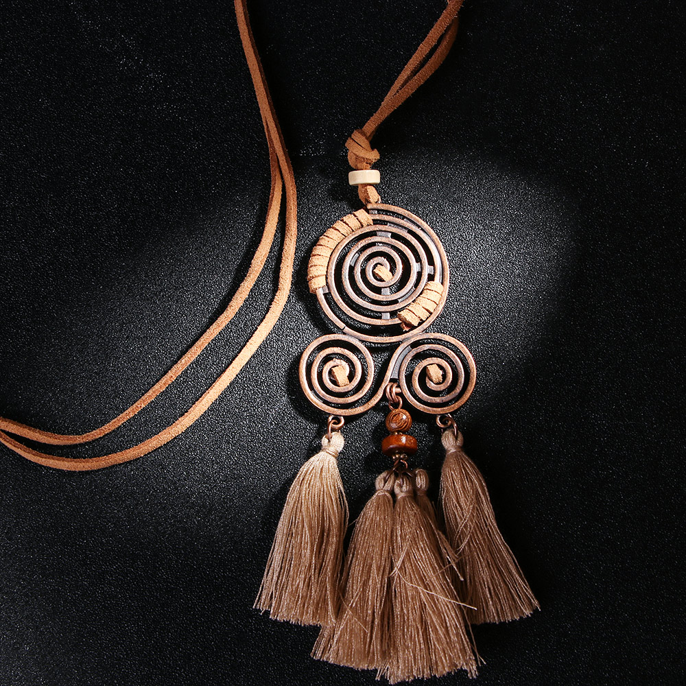 Ethnic Vintage Leather Rope Chain Long Choker Necklace Tassel Pendant Women