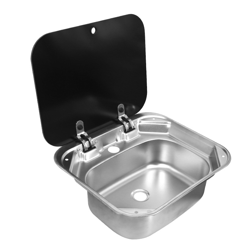 Boat RV Caravan Stainless Steel Hand Wash Basin Sink With Tempered Glass Lid