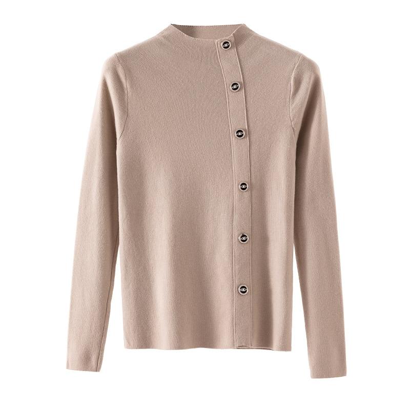 Gkfnmt Button Jumper Moto Sweater Women Pullovers Biker-Style Basic Winter And Slim Ladies
