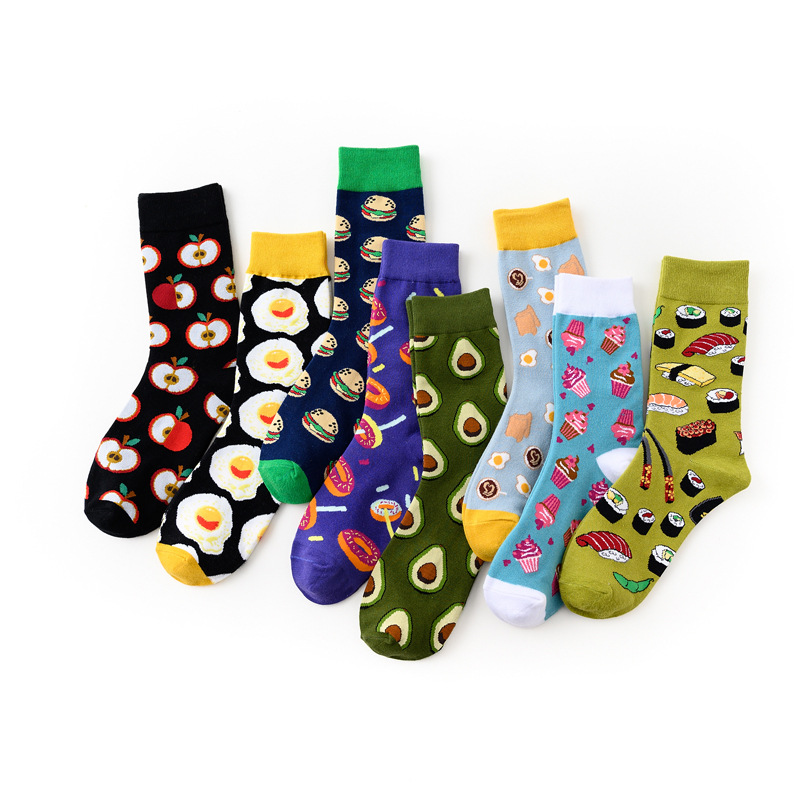 1 Pairs Women Crew Socks Funny Cute Cartoon Fruits Apple Avocado Lemon Hamburgsushi Egg Happy Japanese Harajuku Skateboard Socks