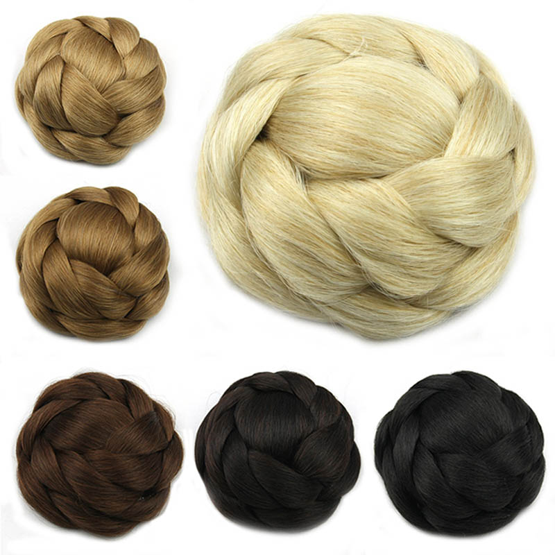 Gres Black/Light Brown/Blonde Women Synthetic Hair Buns Clip-in Big Size Chignons for Ladies High Temperature Fiber