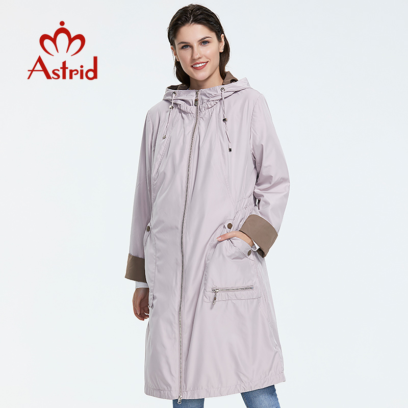 Astrid 2019 New Fashion Plus Size Stand Collar  Mid-length Trench Coat Spring-autumn Light-colored Windproof Women's Jac AS-1992