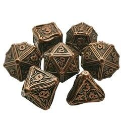 Juego de dados de Metal de alta resistencia, juego de dados de juego de rol, sólido, poliédrico, 7 Uds.