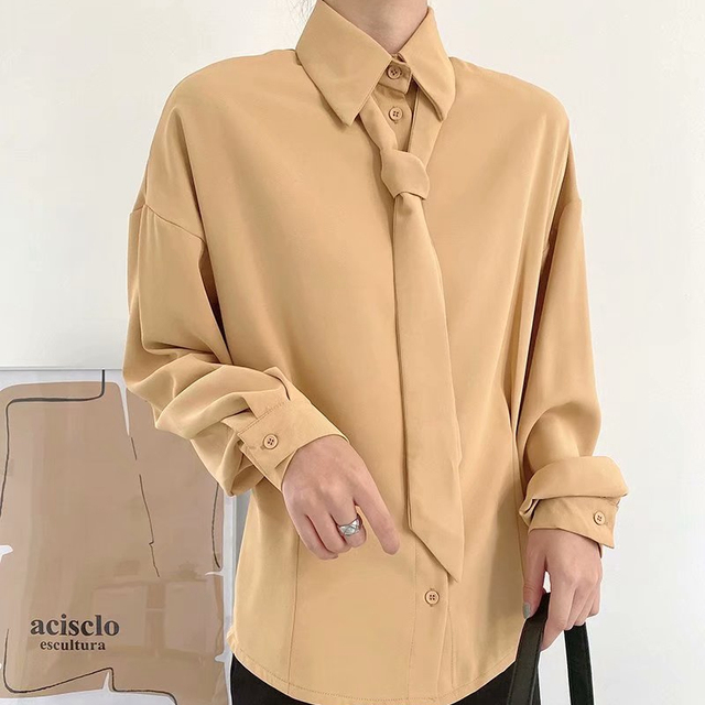 Orange Shirt with turn down collar