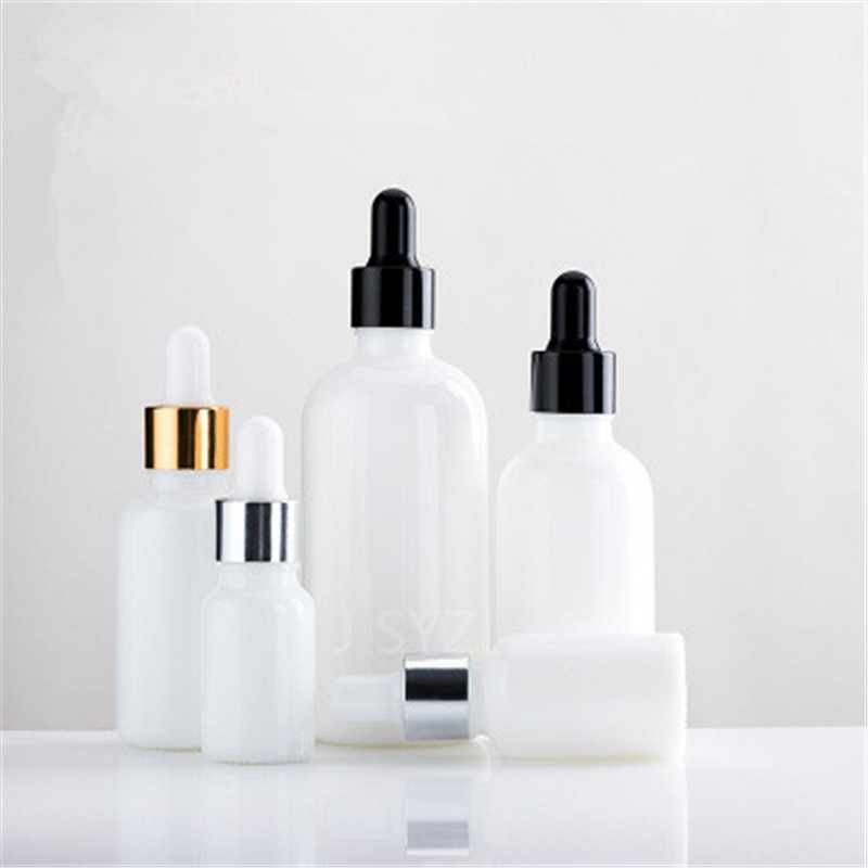 10pcs 10ml 15ml 20ml 30ml 50ml 100ml Pearl White Glass Essential Oil Bottle Serum Bottles Cosmetic Packaging Bottle With Dropper