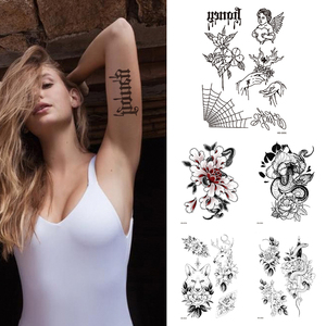 1Sheet Angel Spider Waterproof Temporary Tattoo Flower Women Fashion Tattoos Arm Sleeve Fake Tattoo For Girls Kids