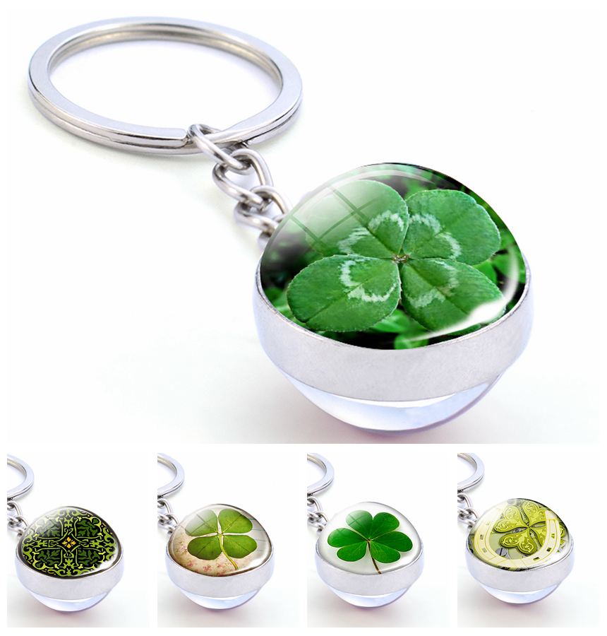 Four Leaf Clover Ireland Green Lucky Keychain St Patricks Day Gift Irish Jewelry Cuckooflower Glass Ball Key Rings Pendant Gift