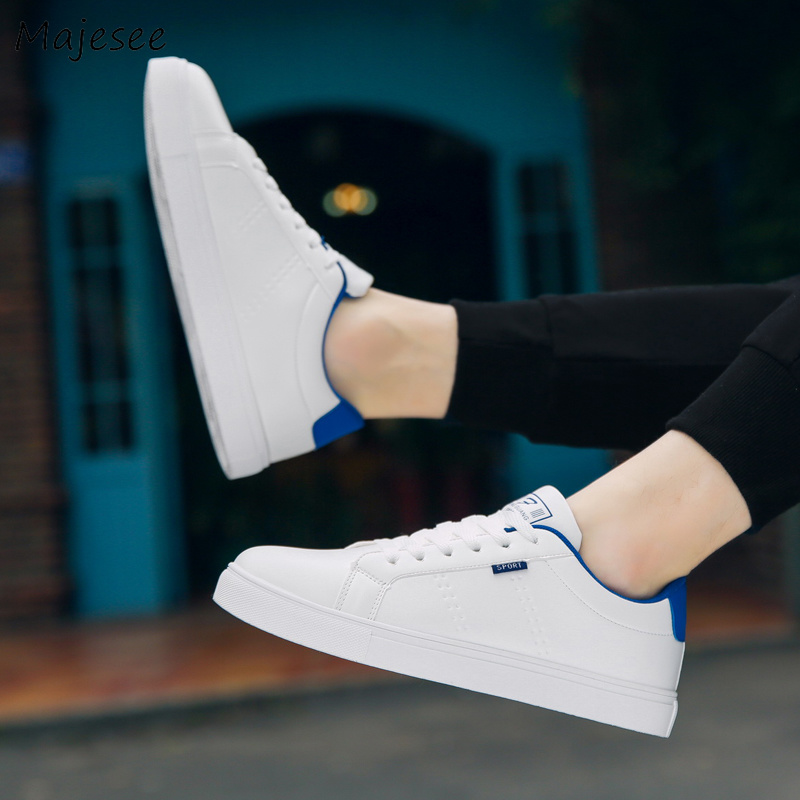 Men's Vulcanize Shoes Flat With Breathable Walking Sneakers Simple Trendy Men Outside Footwear Korean Style Lace-up White Chic