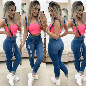 Slim Jeans Overalls Button Denim Pants Waist Skinny Casual High-Quality Woman Ladies