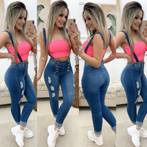 Vintage Ripped Jeans Denim Rompers Women Slim Stretch Overalls  Waist Dungarees Casual Pencil Jean Ladies D30