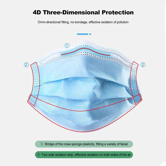 50 pcs Disposable Child Protective Mask Three-layer Dust-proof Bacterial and Flu-proof Mask with Melt-blown Cloth Breathable 3