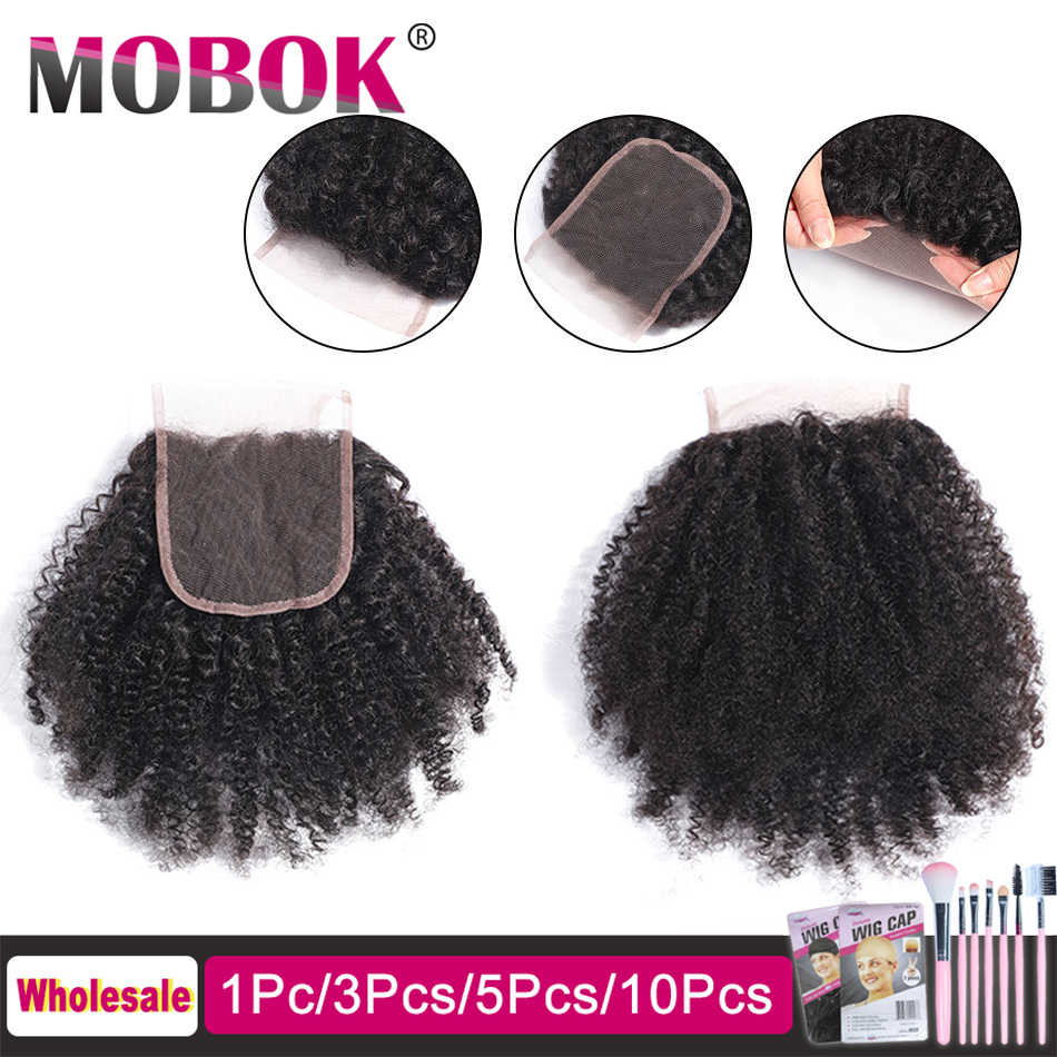 MOBOK 4x4 Afro Kinky Curly Lace Closure Free Part Mongolian Human Hair Closure Natural Color Bleached Knots Remy Hair Weaves