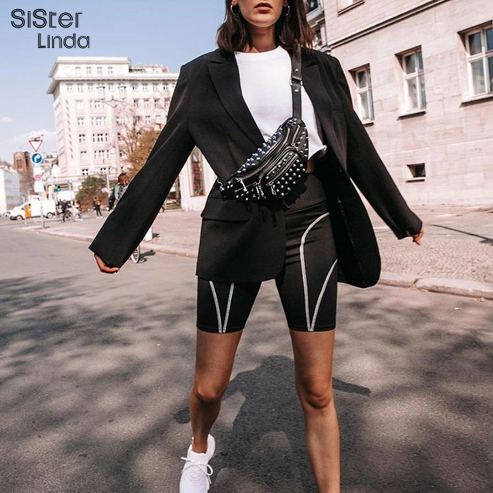 Sisterlinda Letter Reflective Stripe Shorts Women Elastic High Waist Skinny Bottoms Cycling Short Leggins Shorts Mujer 2019 Fall