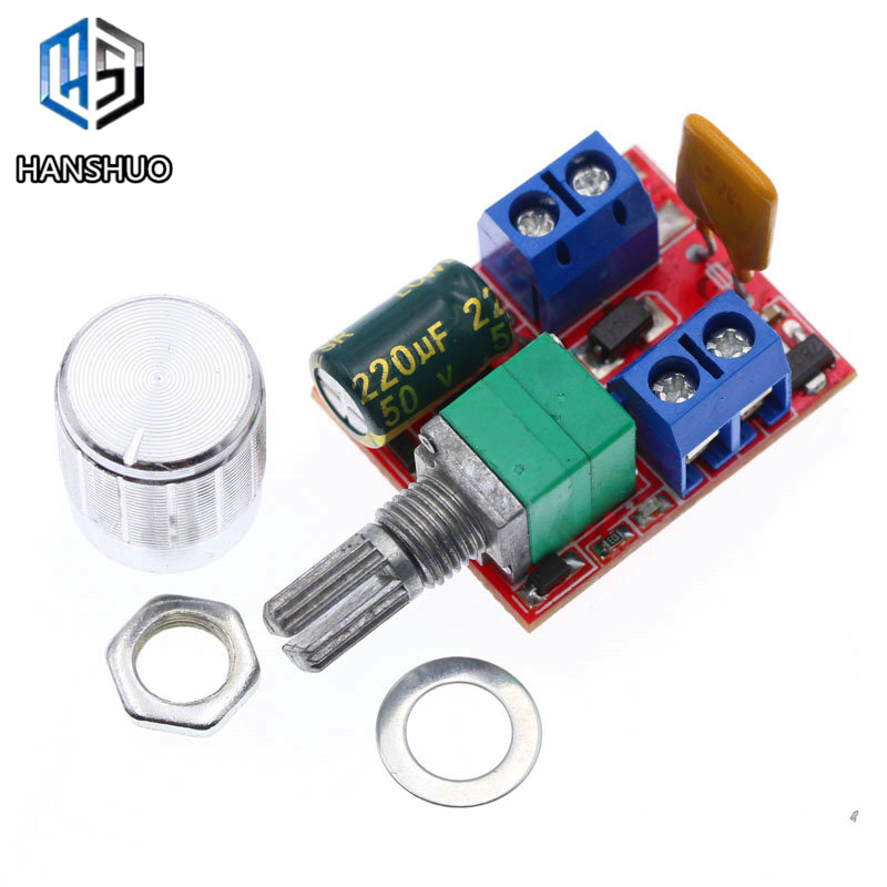 Mini 5A PWM Max 90W DC Motor Speed Controller Module DC-DC 3V 35V Speed Control Adjustable Potentiometer Switch Board LED Dimmer
