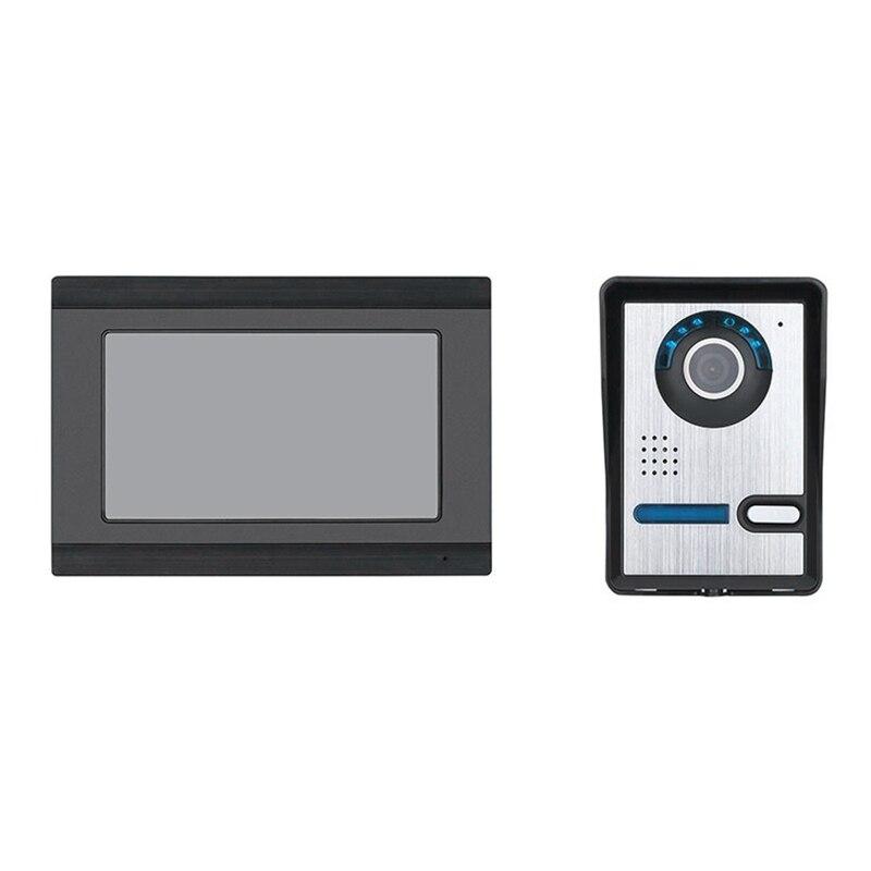 ABKT-Mountainone 7-Inch Display Cable Video Phone Doorbell Infrared Rainproof Wireless App Unlock Intercom System Black +Silver