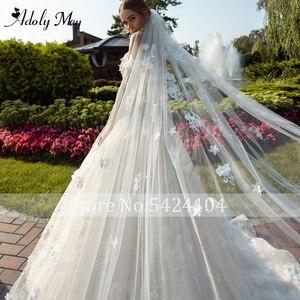 Image 4 - Новое Очаровательное свадебное платье, вырез сердечком бисер A Line 2020 Великолепные Цветы Аппликации Кружева со шлейфом принцесса свадебное платье