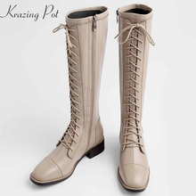 Riding-Boots Stretch Med-Heels European Lace-Up L56 Square Toe Keep-Warm