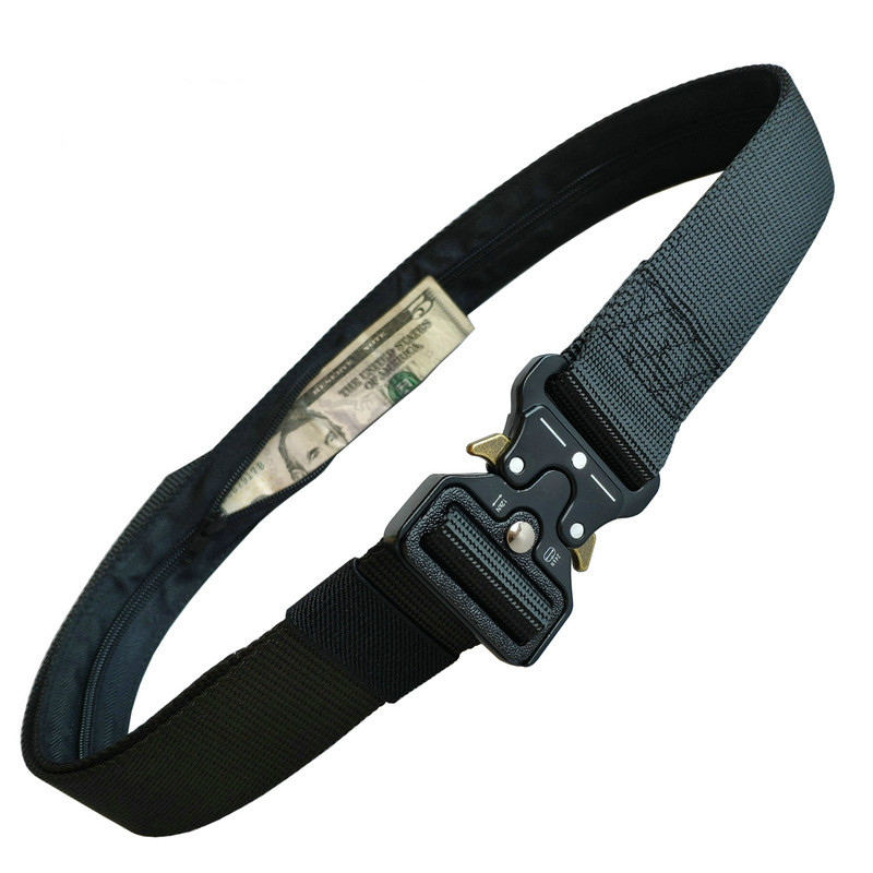 Designer High Quality Hidden Money Nylon Tactical Belt Men's Multifunctional Zipper Wallet Cobra Outdoor Tactical Wallet Belts