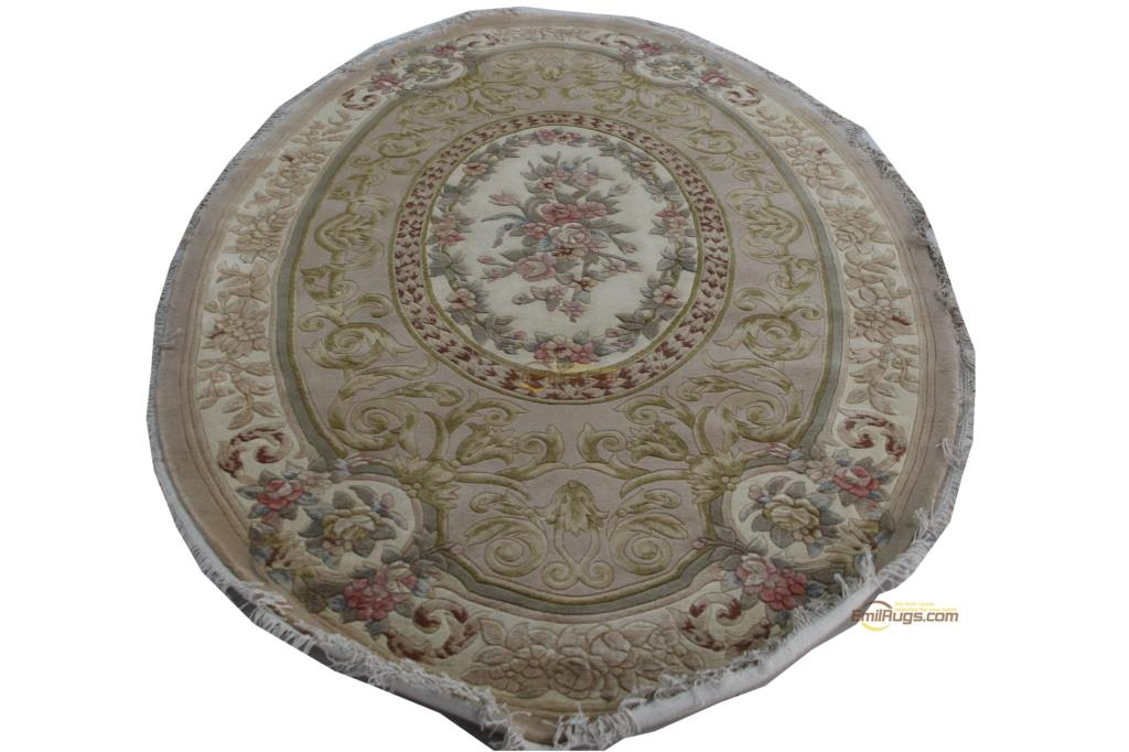 Russian Carpet Top Fashion Tapete Details Hand-knotted Thick Plush Savonnerie Rug   6X9 Round