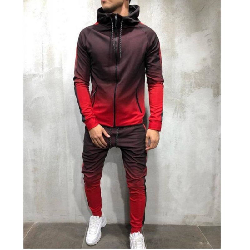 Zipper Tracksuit Men Set Sporting 2 Pieces Sweatsuit Men Clothes Printed Hooded Hoodies Jacket Pants Track Suits Male