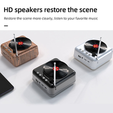 Vintage Mini Speaker Bluetooth 5.0 Portable Boombox Portable Speaker with Simulate Rotate CD FM Radio Antenna